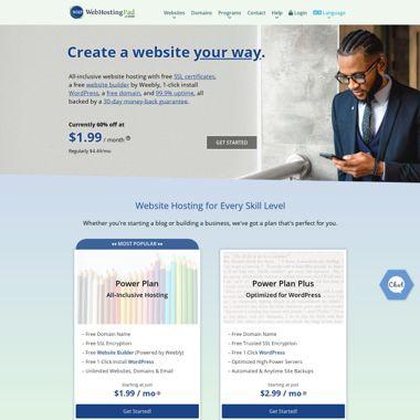 WebHostingPad HomePage Screenshot
