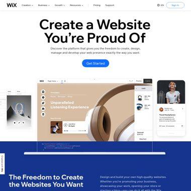 Wix Hosting HomePage Screenshot