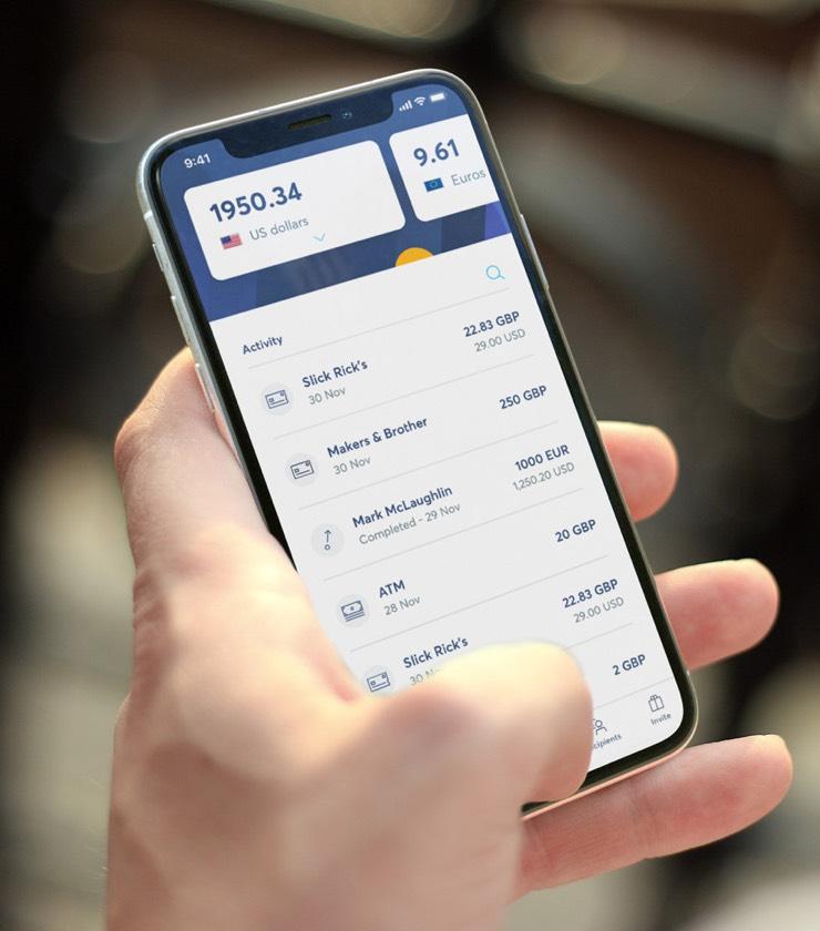 手機上的 Wise 綜合貨幣帳戶