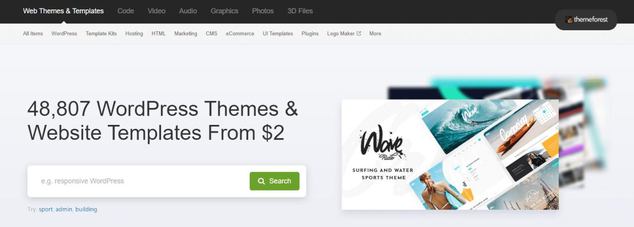 envato themeforest search feature