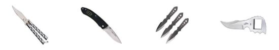 禁售非法刀具 例如:蝴蝶刀、弹簧折刀、匕首等